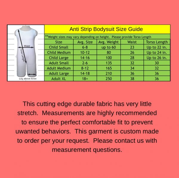 anti-strip-bodysuit-sizing - Special Needs Incontinence Clothing by Preventa Wear