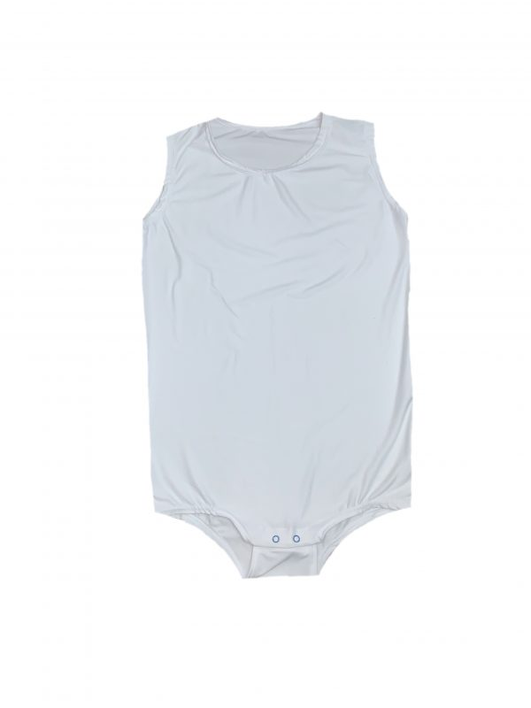 White special needs onesie - adaptive incontinence clothing by preventawear
