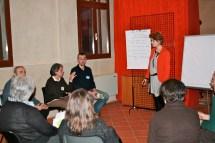 Il gruppo di discussione guidato dall'Arch. Chiara Porretta, progettazione del percorso.