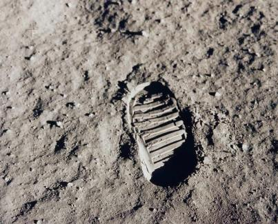 First footprint on the moon