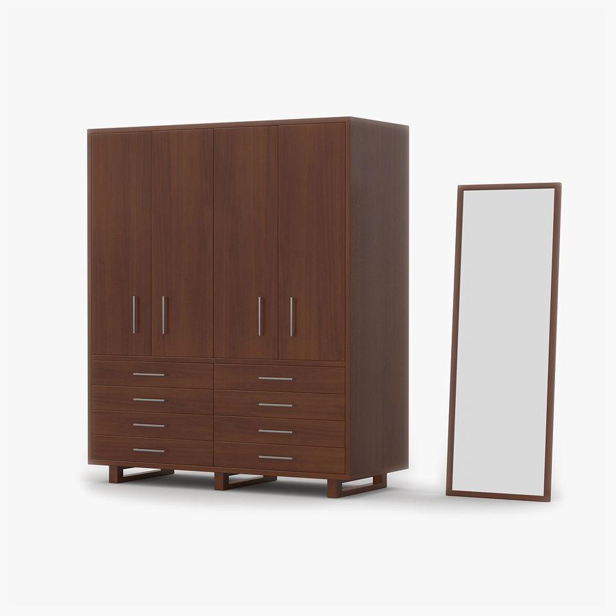 armoire en bois de cerise royalty free 3d model preview no 1