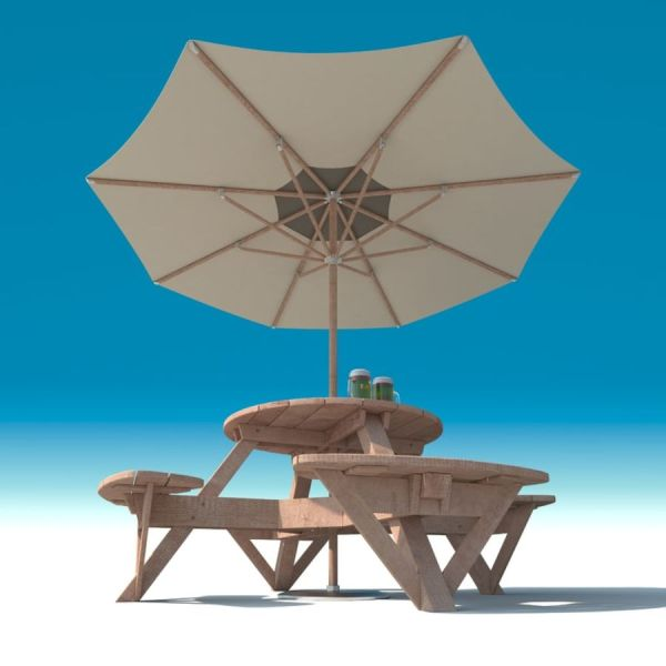 Garden Furniture  exterior Picnic deck Table in grey wood with     Garden Furniture  exterior Picnic deck Table in grey wood with umbrella   Parasol and Beer