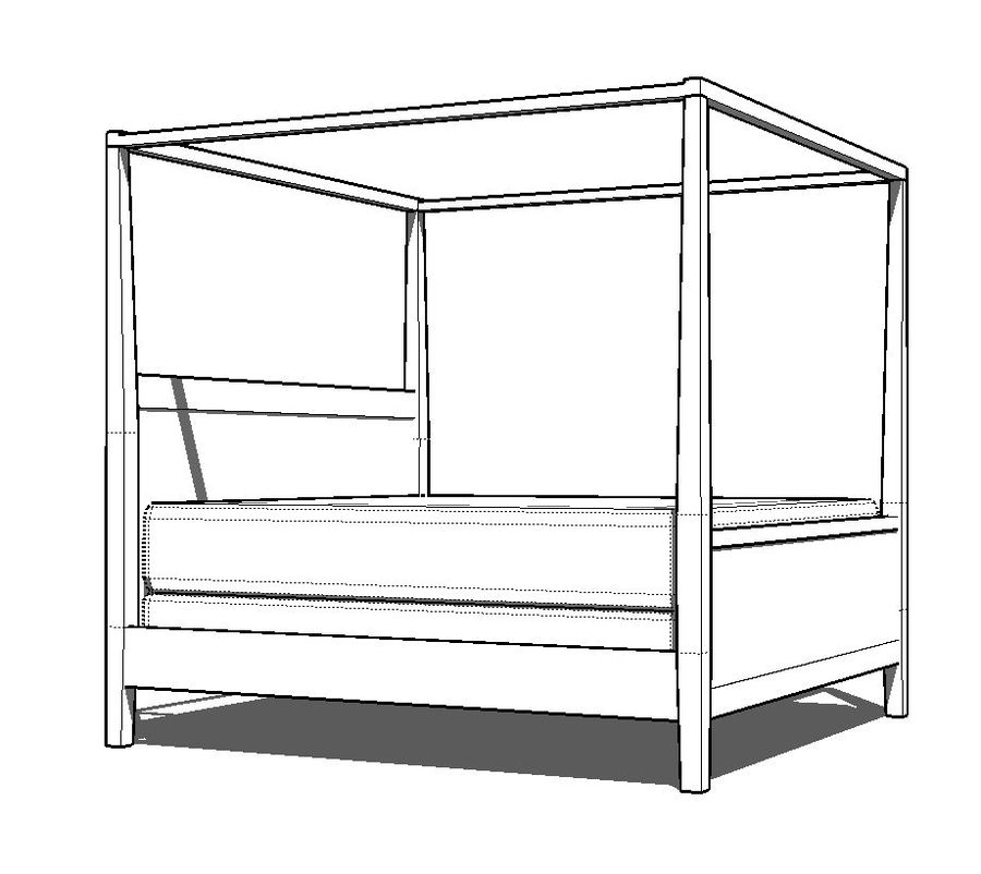 contemporary canopy bed kit 3d model 6