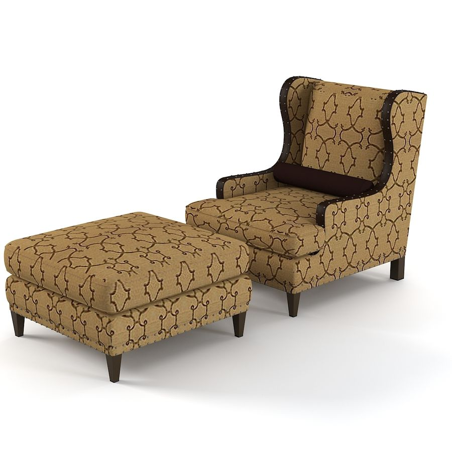 ensemble fauteuil et pouf century royalty free 3d model preview no 1