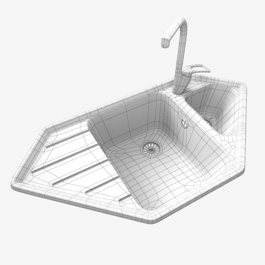 corner kitchen sink with mixer 3d model