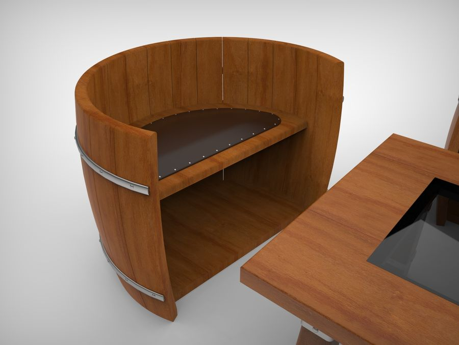 rustic coffee table and chairs 3d model