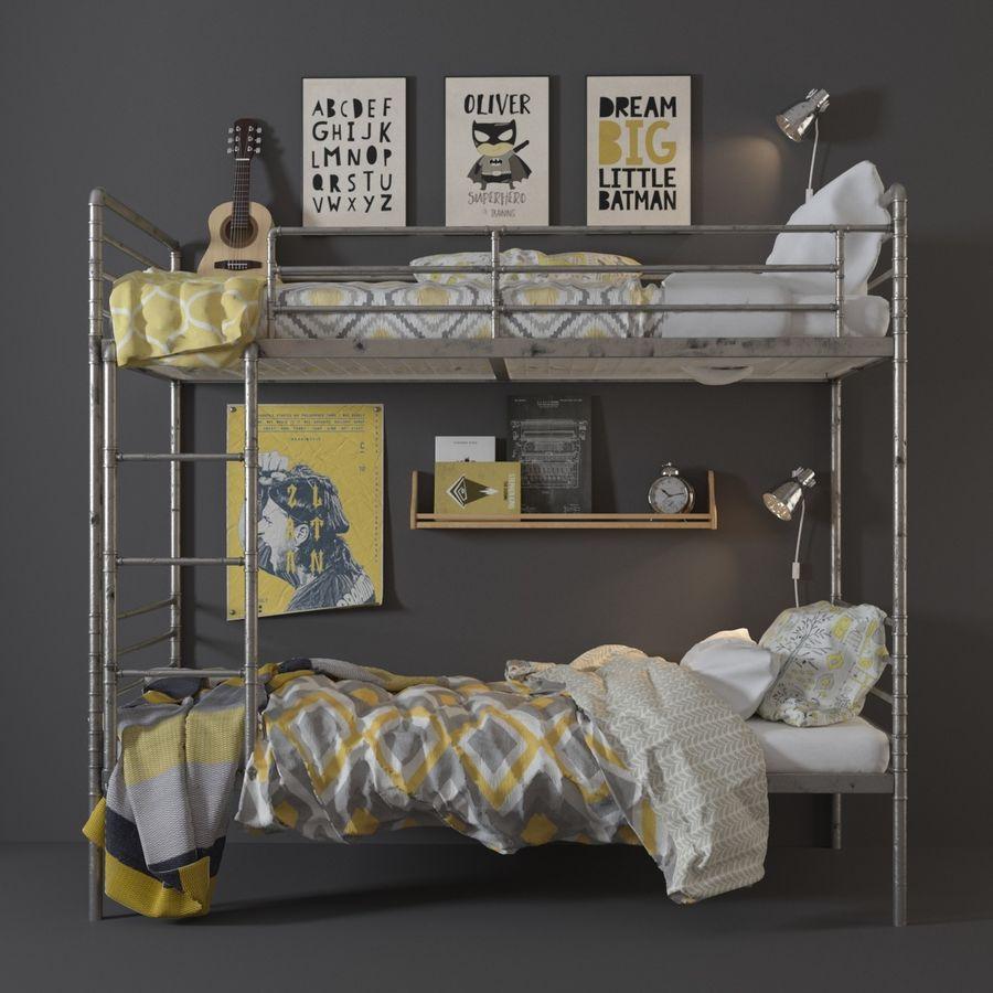 bunk bed industrial steel pipe 3d model