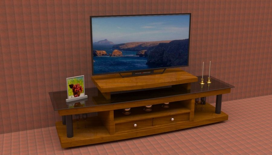 tv table with smart tv 3d model 29