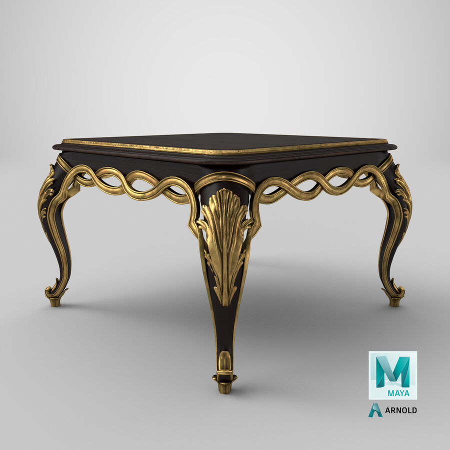 coffee table old brass 3d model 39