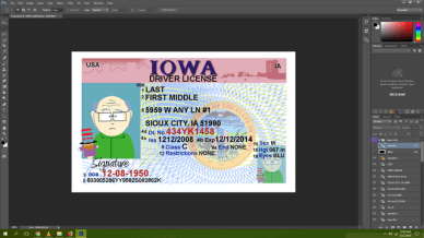 Iowa driving licence psd template