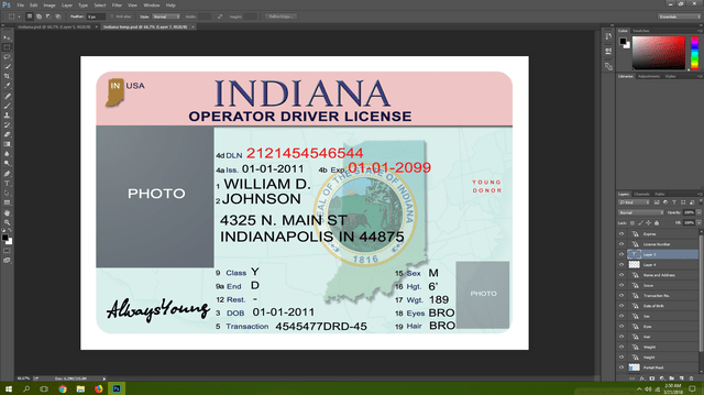 Indiana driving licence psd template