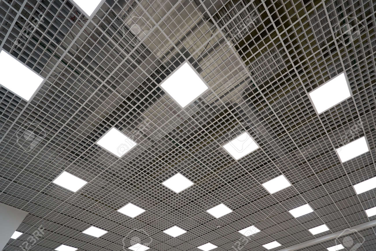 ceiling lighting in a large room in a mall or warehouse
