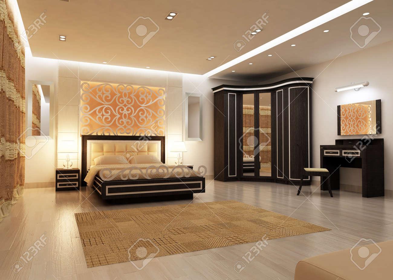 design d interieur de la grande chambre moderne dans l eclairage artificiel rendu 3d