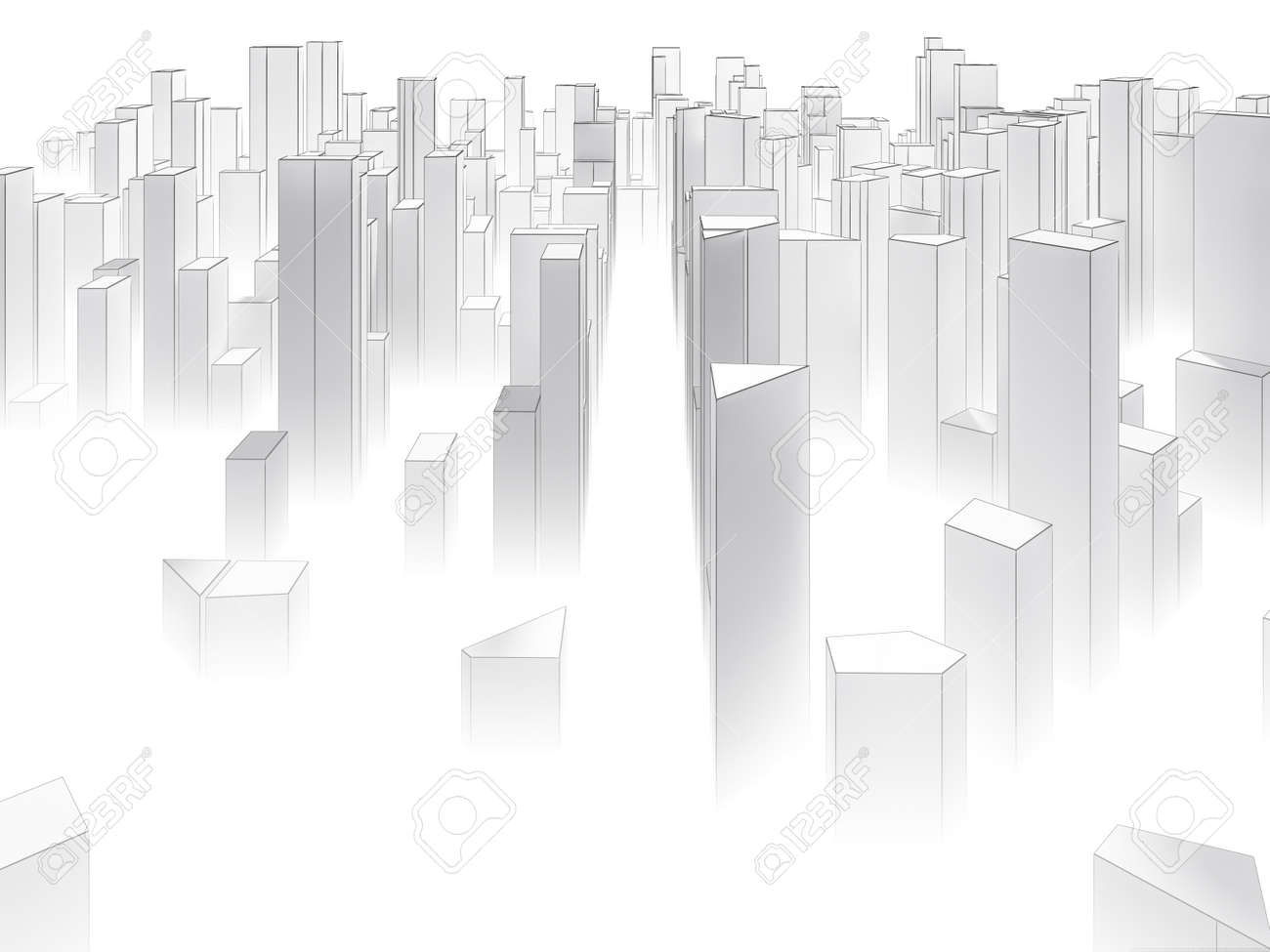 abstract simple city design sketch background with fog stock photo