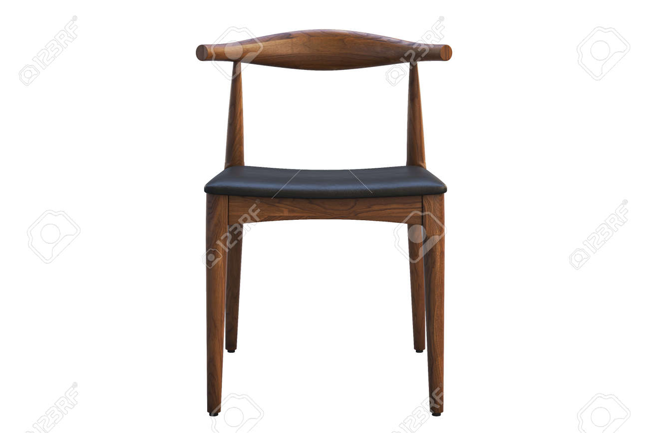Mid Century Wooden Chair With Leather Seat On White Background Stock Photo Picture And Royalty Free Image Image 138135201