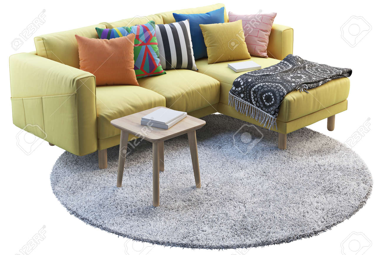 3d render of yellow fabric sofa with chaise lounge gray round rug and wooden coffee table on white background scandinavian interior furniture set