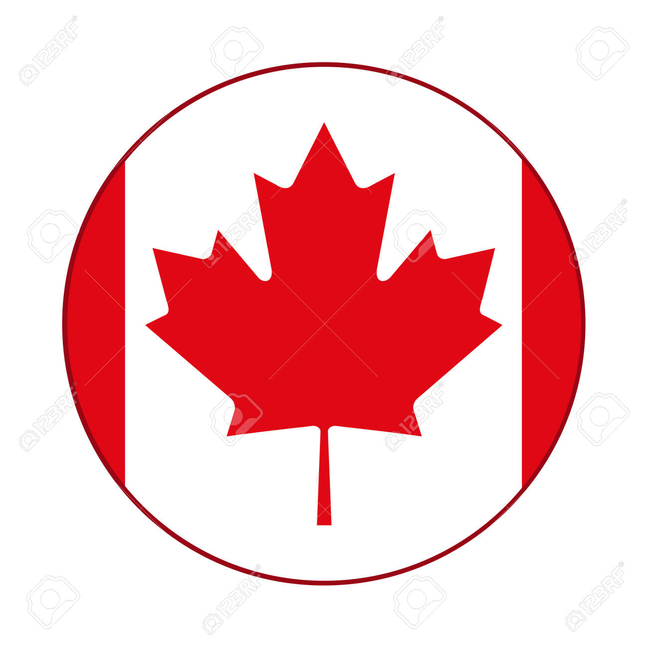 Canadian Flag Red Maple Leaf Badge Royalty Free Cliparts Vectors And Stock Illustration Image 75489045