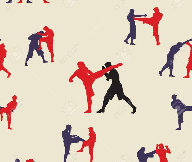Seamless Background Thai Boxing Muay Thai Martial Art Vector Illustration Collection Muay