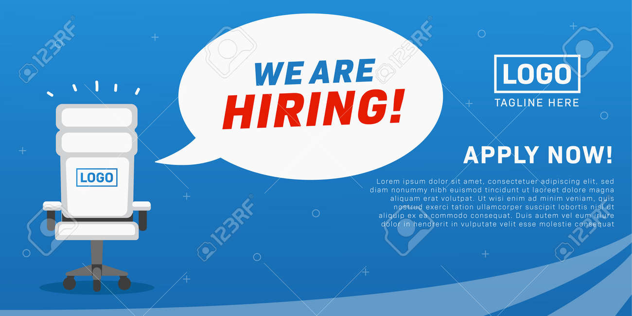job vacancy we are hiring poster with empty office chair illustration