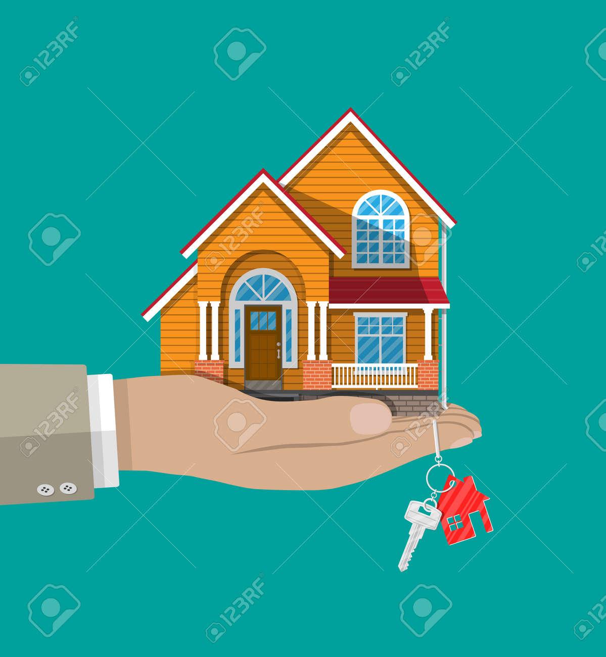 main avec petite maison et cles acheter ou vendre une maison immobilier illustration vectorielle dans un style plat