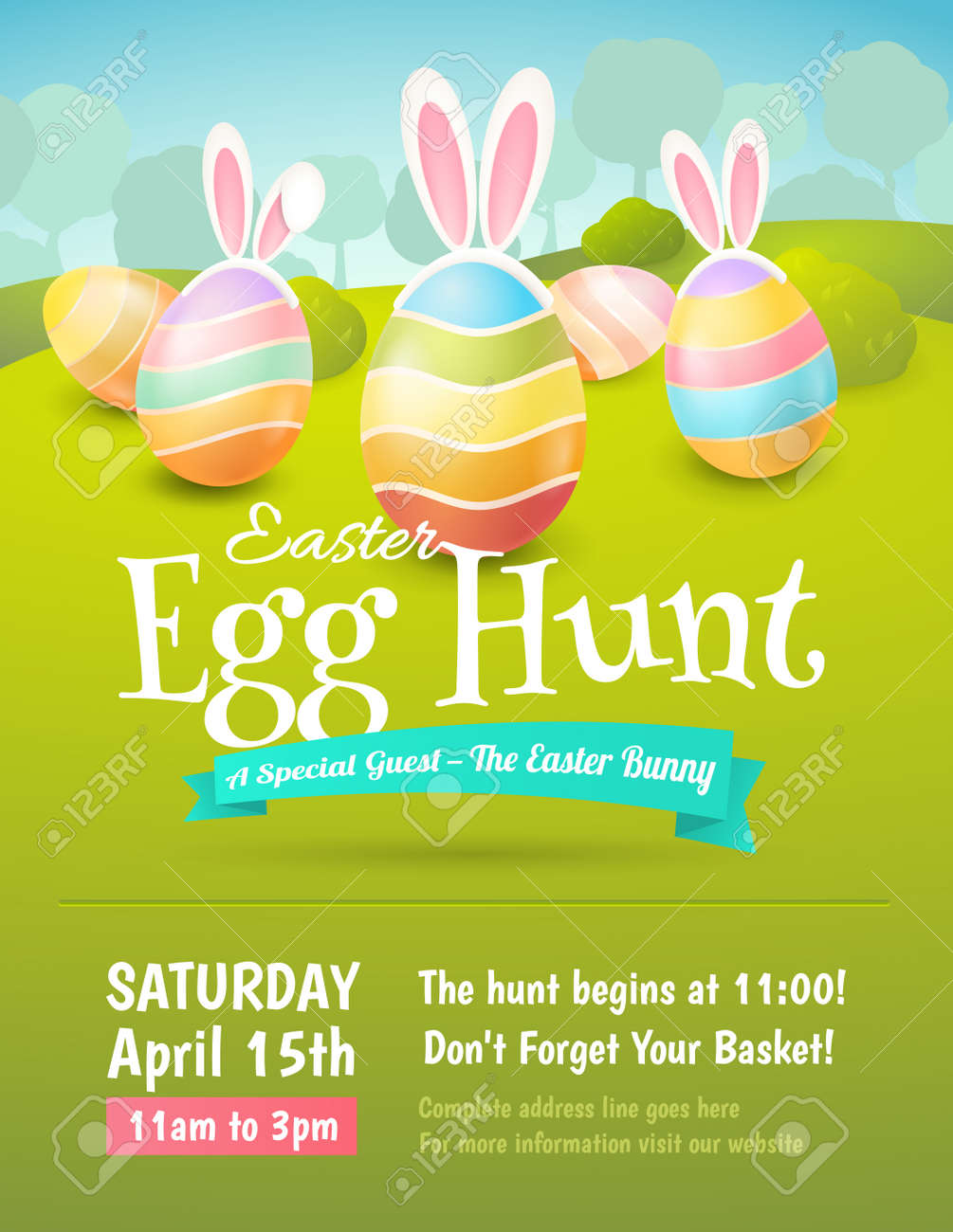 vector cute poster for easter egg hunt with colored eggs and