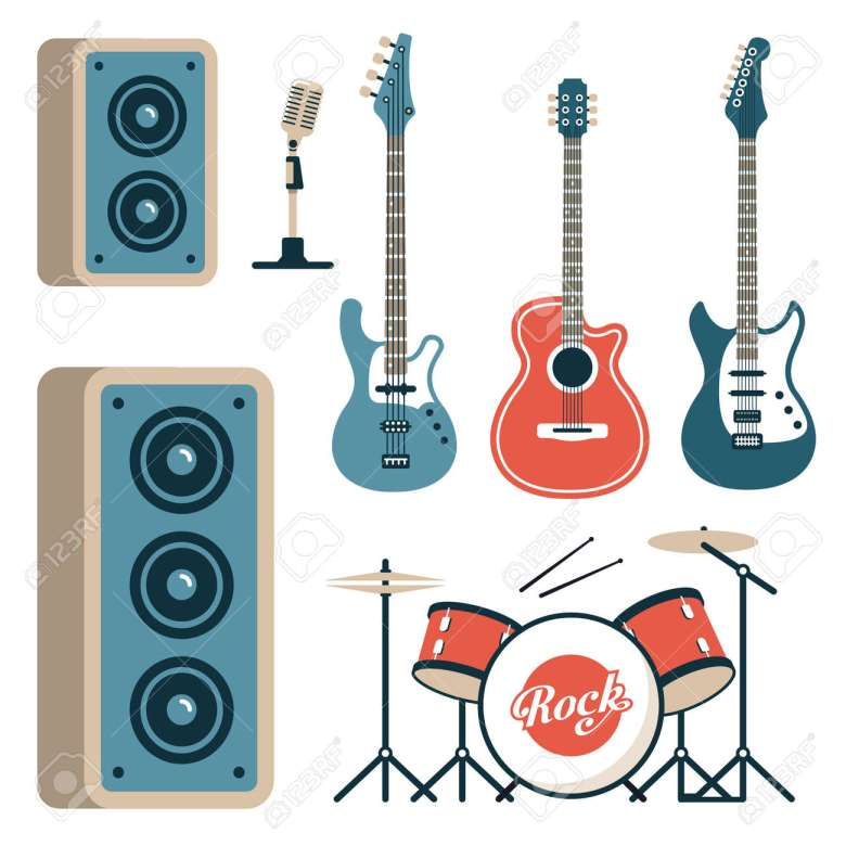 musical instruments for rock band - acoustic, electric and bass