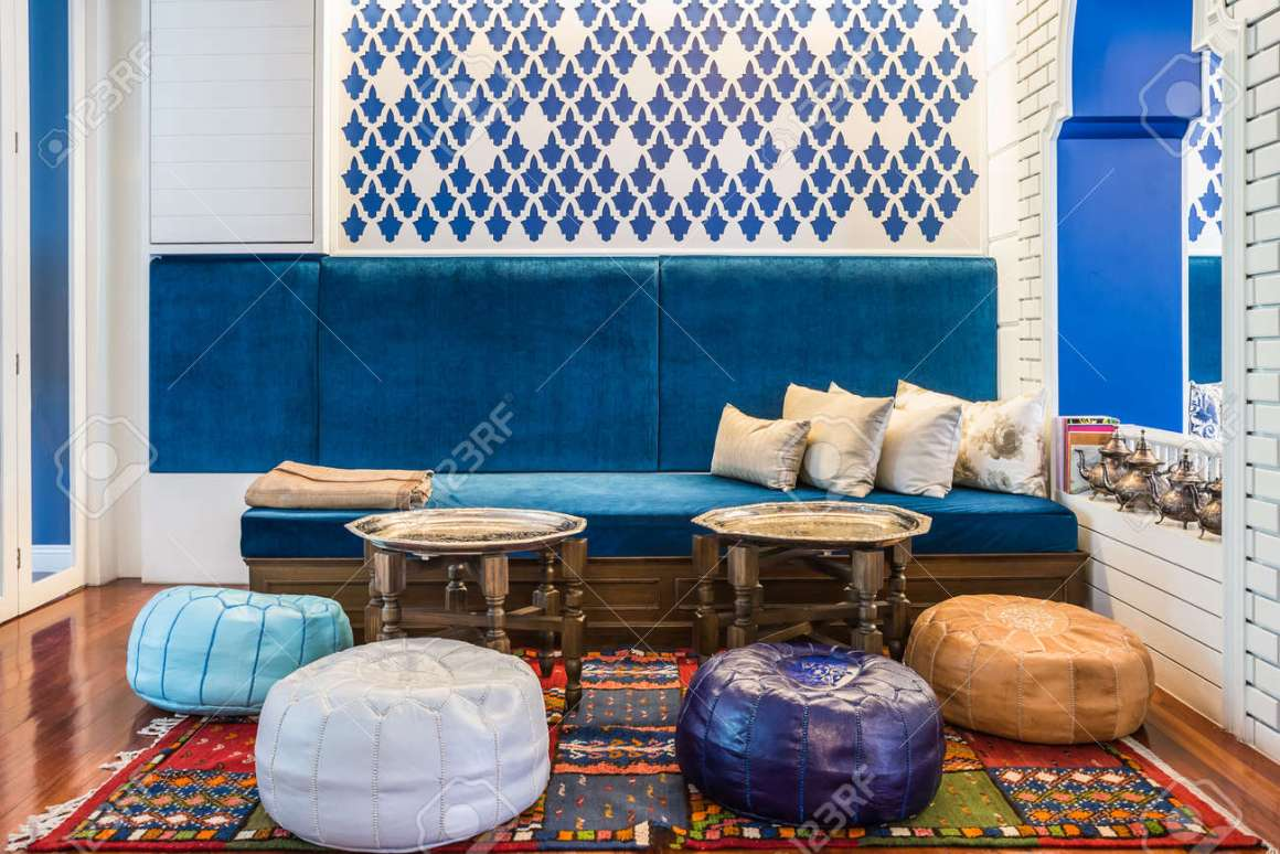 moroccan style living room stock photo, picture and royalty free