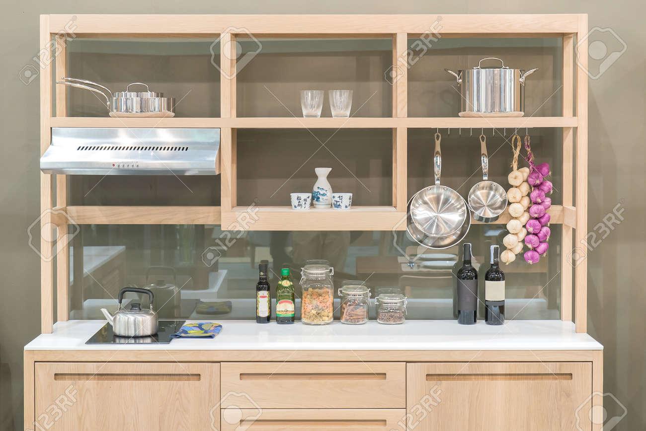 nouvelle cuisine moderne avec etagere bois de style