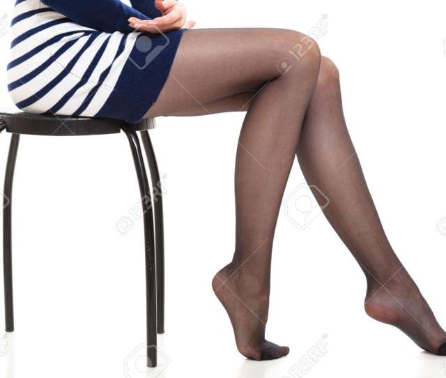 Beauty Woman Legs In Black Tights Part Body Of Slim Attractive Girl Wearing Striped Dress