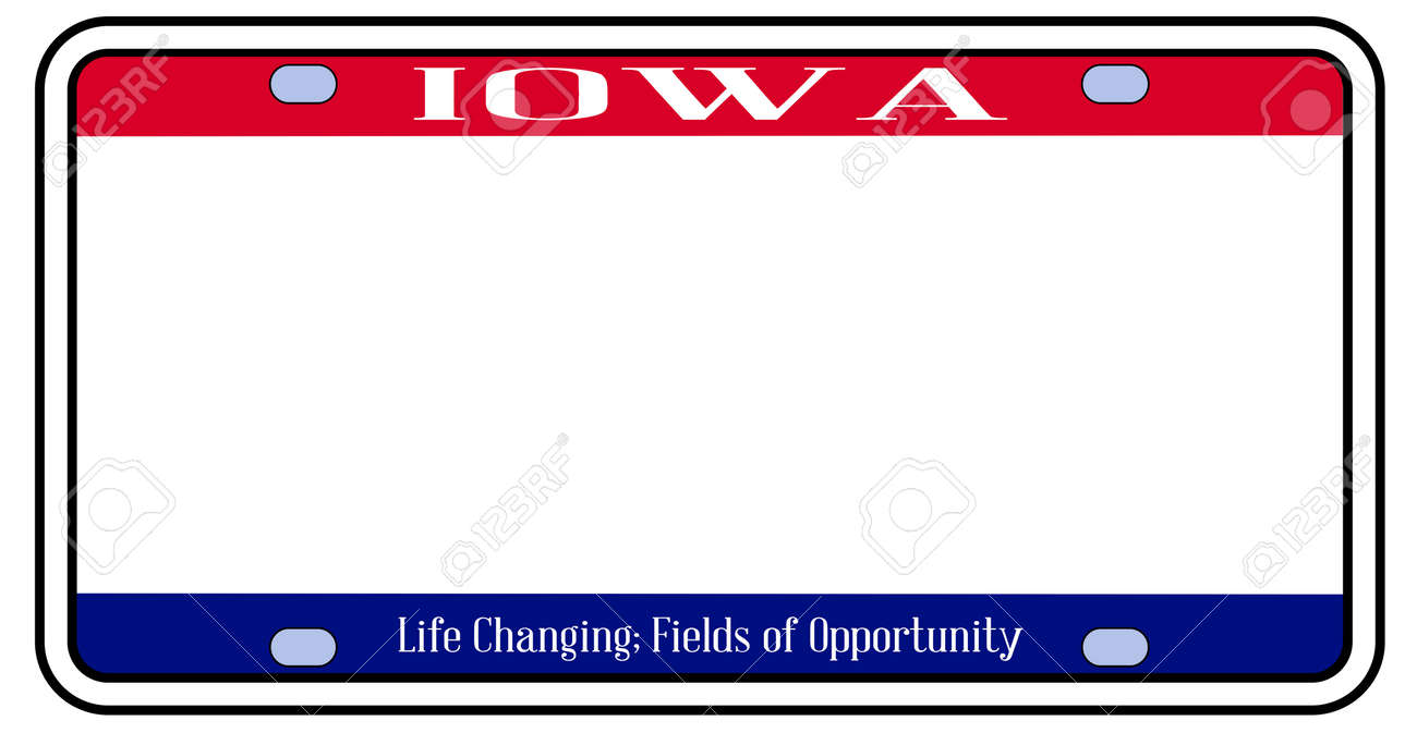 Blank Iowa State License Plate In The Colors Of The State Flag Royalty Free Cliparts Vectors And Stock Illustration Image 139934768