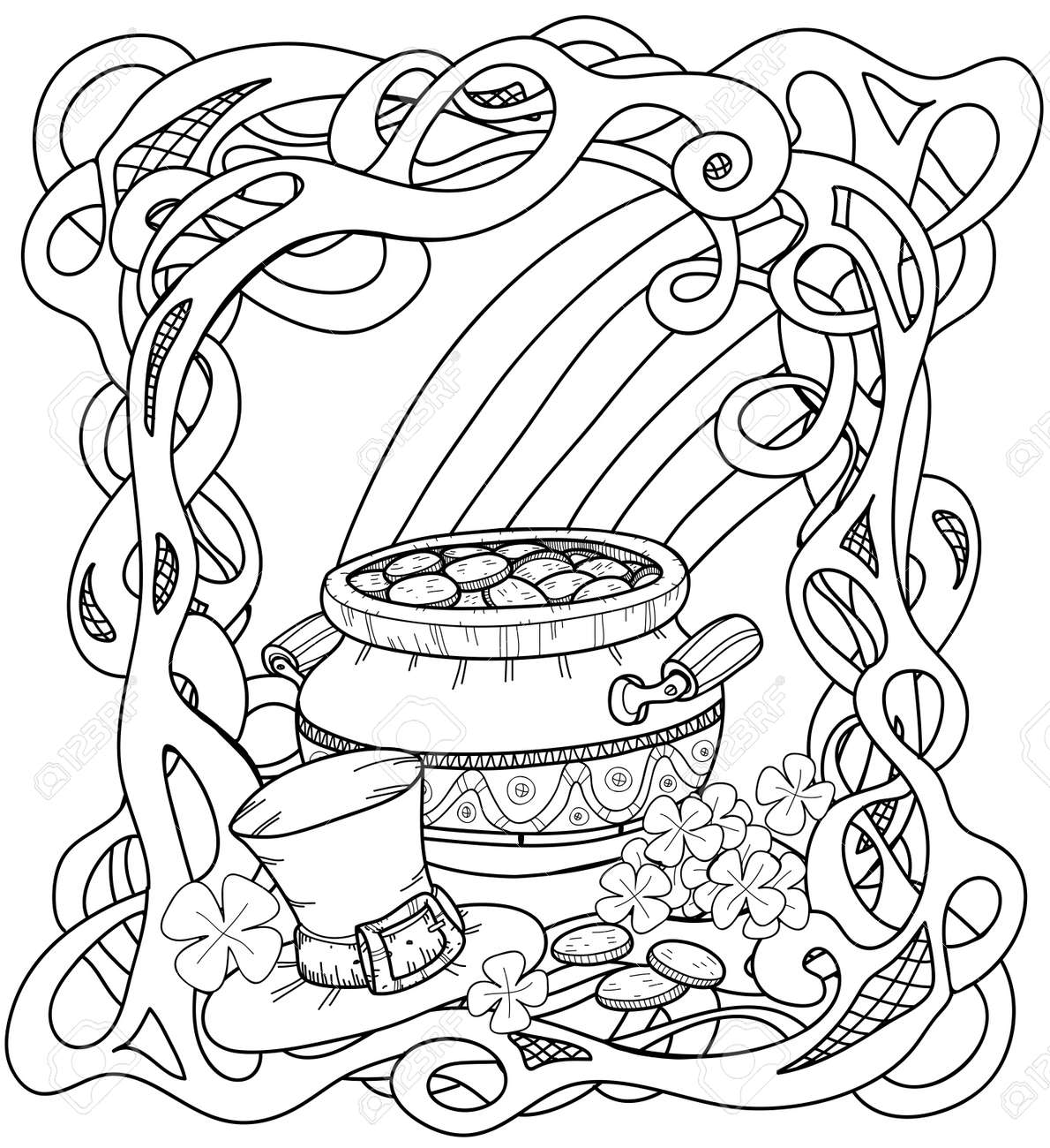 Leprechauns Gold Coloring Page With Pot Of Gold Rainbow Leprechaun Royalty Free Cliparts Vectors And Stock Illustration Image 50573606
