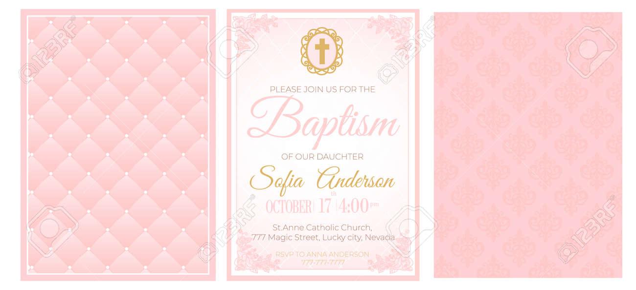 baptism cute pink invitation template card set of illustration