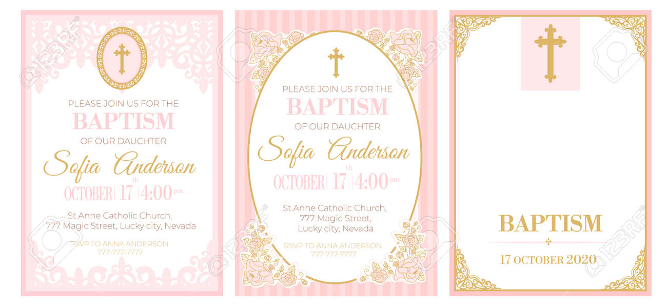 a set of cute pink templates for baptism invitations vintage