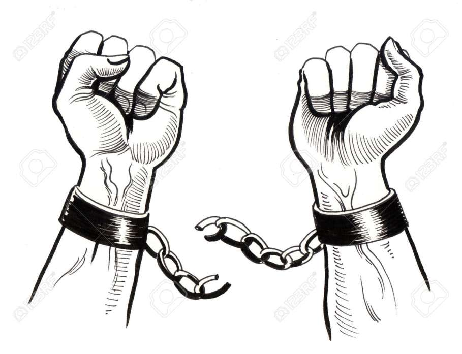 arms breaking chains signifying freedom from dip