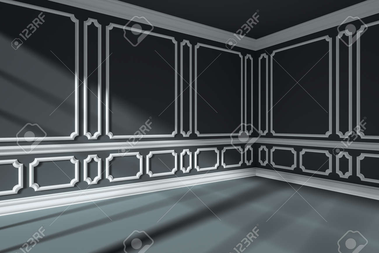 Empty Black Room Interior With Sunlight From Window  With White     Empty black room interior with sunlight from window  with white decorative  classic style molding frames