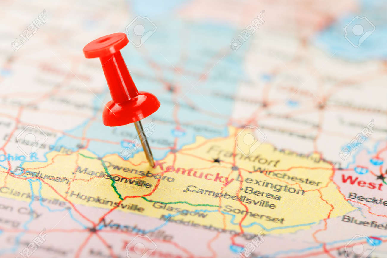 The third is a map of kentucky state showing the boundaries of all the counties of the state with the. Red Clerical Needle On A Map Of Usa South Kentucky And The Capital Frankfort Close Up Map Of South Kentucky With Red Tack United States Map Pin Usa Stock Photo Picture And