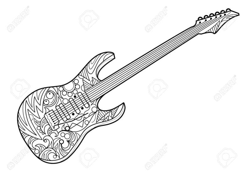 electric guitar coloring book for adults illustration. violin