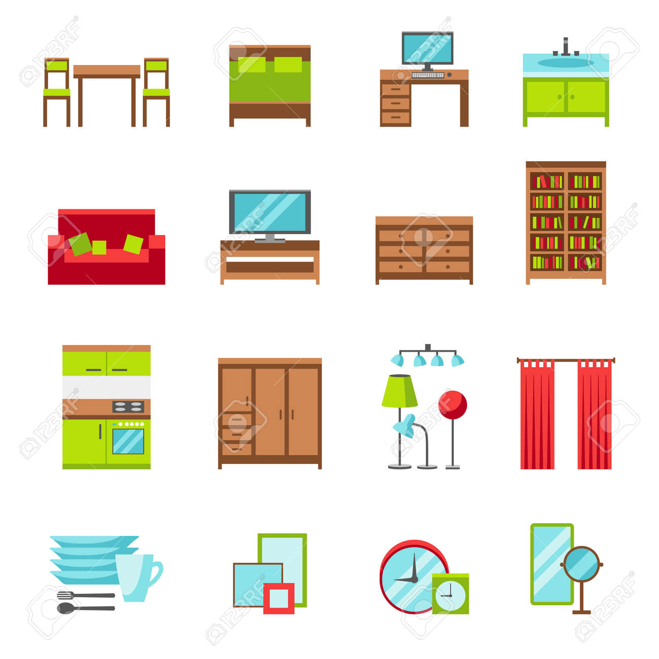 furniture icons set flat style vector illustration furniture royalty free cliparts vectors and stock illustration image 61230866