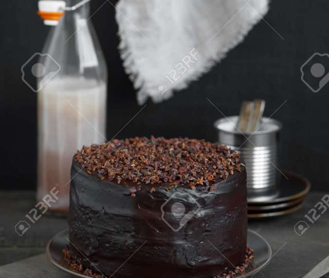 Homemade Chocolate Cake On The Rough Wooden Table Stock Photo 85971699