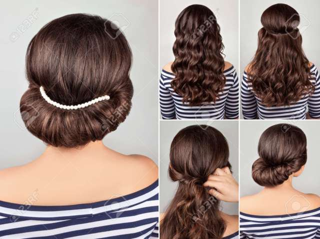 greek style hairdo with string of pearls tutorial. hairstyle..