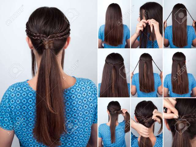 simple hairstyle pony tail with braids hair tutorial. hairstyle..
