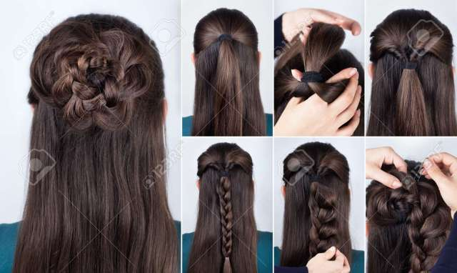 hairstyle braided rose tutorial step by step. hairstyle for..