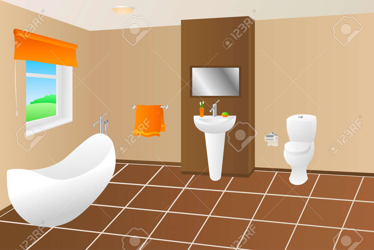 salle de bains moderne bain beige marron orange evier de serviette de toilette fenetre illustrations