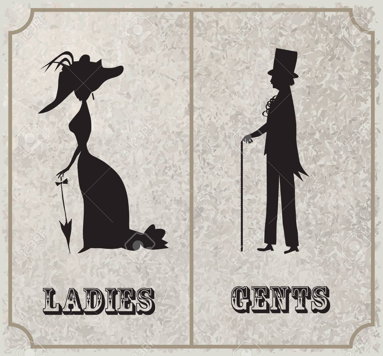 Lady And Gentleman Symbol Toilet Sign In Vintage Style Royalty Free Cliparts Vectors And Stock Illustration Image 84370799