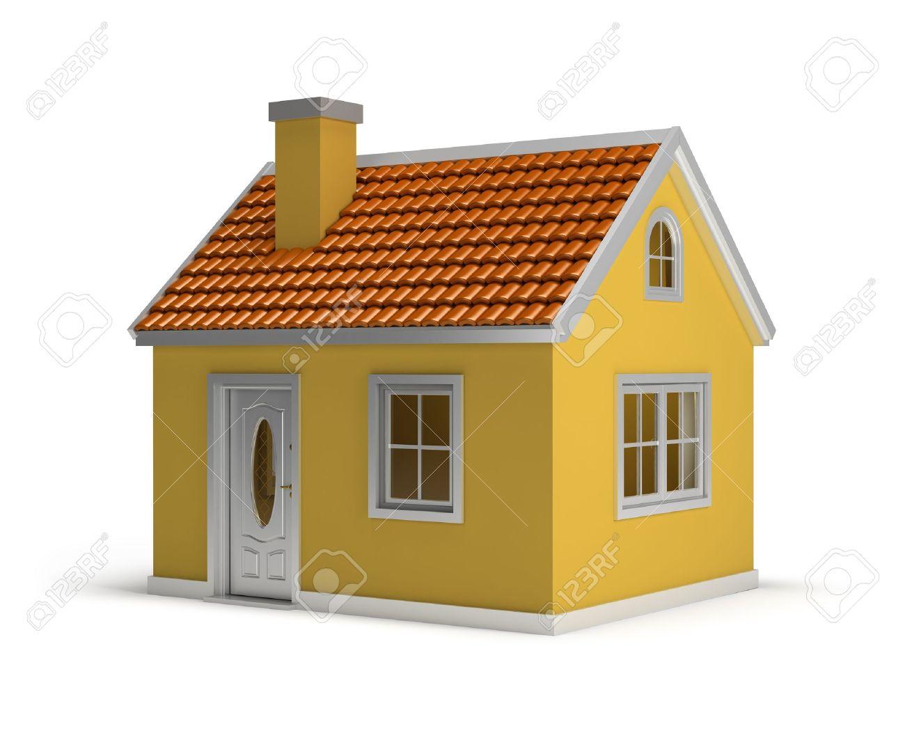 maison jaune image 3d isole sur fond blanc
