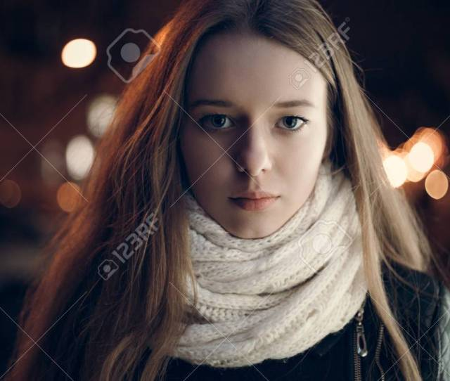 Art Portrait Of A Beautiful Girl Gorgeous Brunette Girl Portrait In Night City Lights