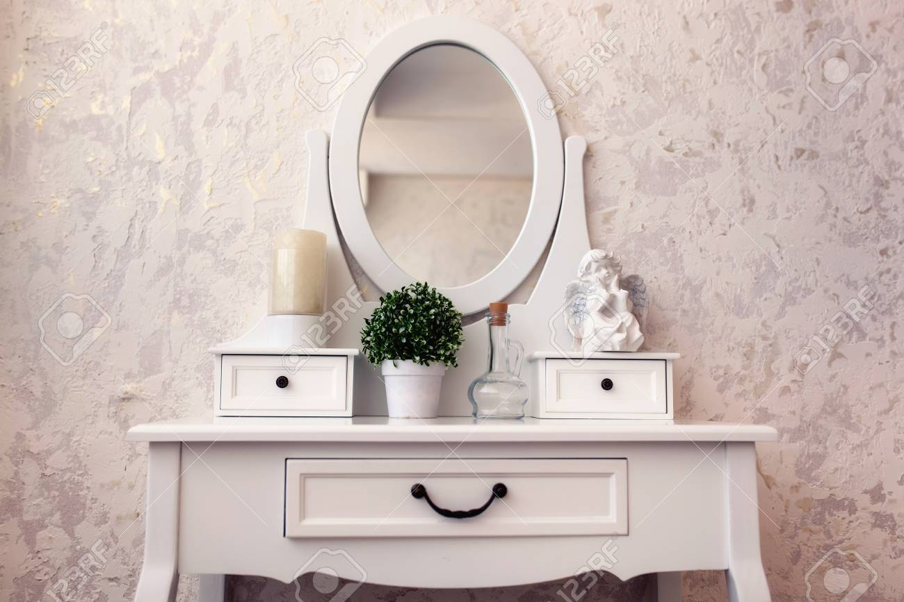beautiful wooden dressing table with mirror on white background wallpaper stock photo 75422349