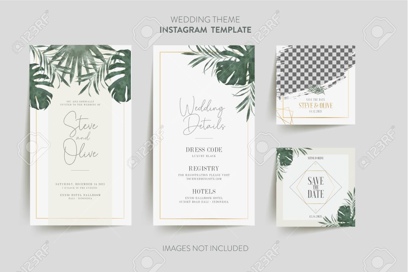 social media template for wedding invitation card with tropical