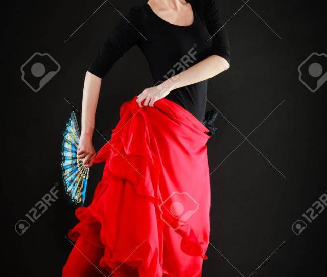 Art Full Length Of Sexy Spanish Girl Attractive Woman In Red Skirt With Fan Dancing