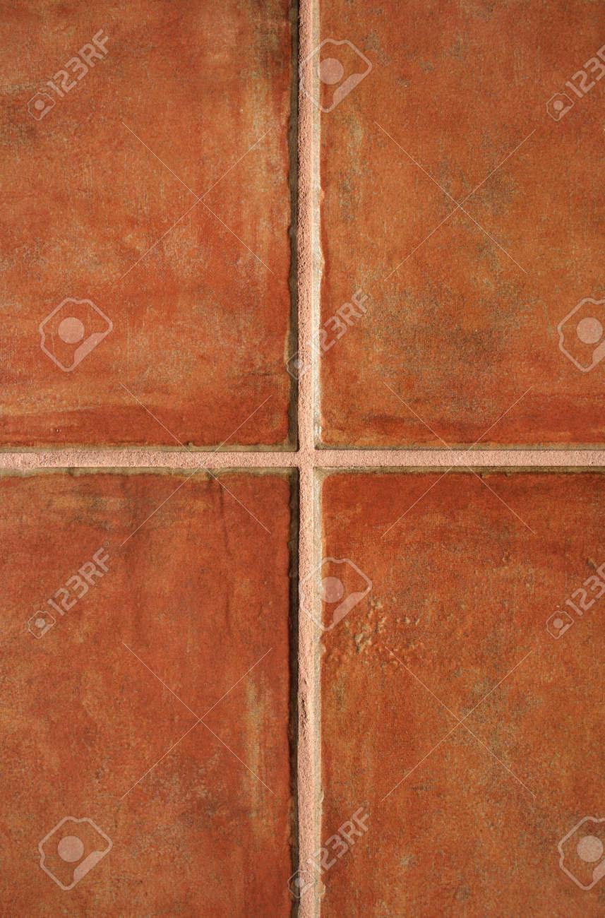 closeup of terracotta color ceramic tiles pattern